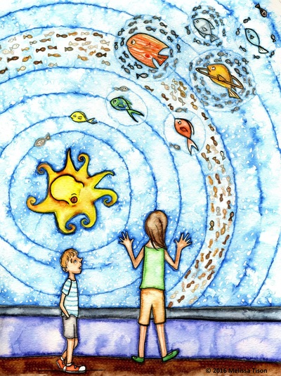 Two children look at an aquarium, where the fish are arranged to resemble the solar system.