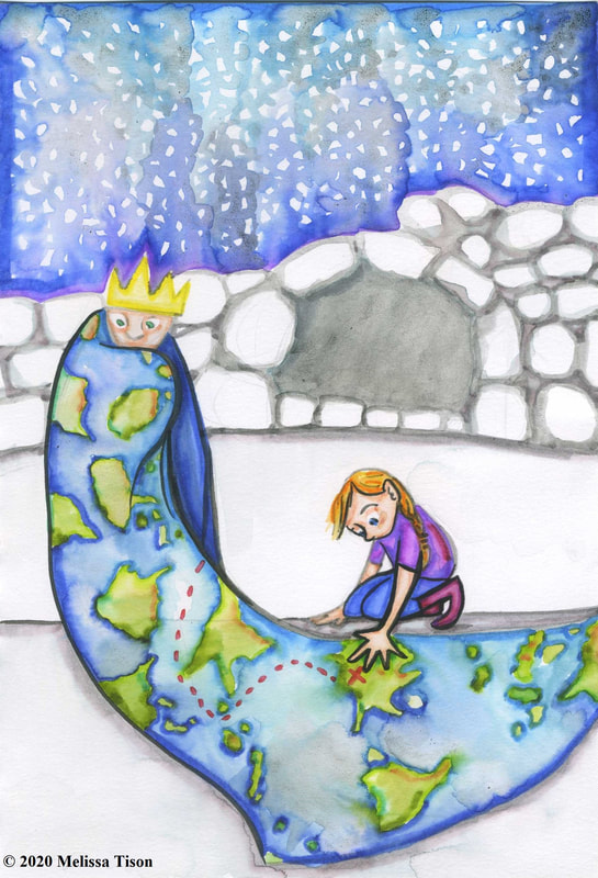 A girl examines the cloak of a boy king, which has a map on it.