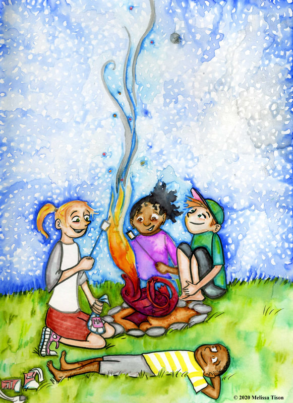 Four children toast marshmallows over a fire provided by a small, dark red dragon.